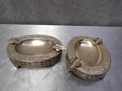 Pair of Antique Silverplated Ashtrays * Circa 1920 * in mint condition