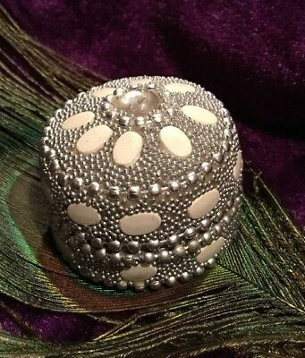 Vintage Boho 70s Etched Silver Metal Beaded Pill Box