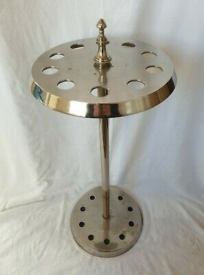 Lovely Tall Vintage Silver Metal / Chrome Walking Stick / Cane Stand Holds 10