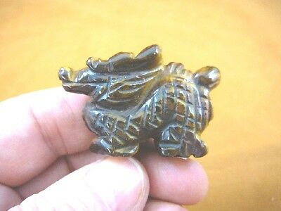 Y-DRA-CD-553) little Tiger's eye Chinese Dragon MYTHICAL carving gemstone statue