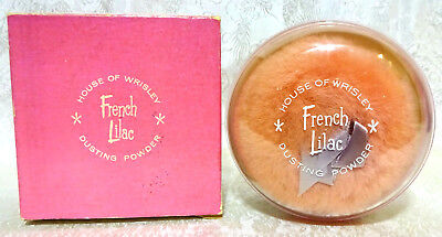 Vintage FRENCH LILAC Dusting Powder by House of Wrisley, SEALED in BOX, 1960s