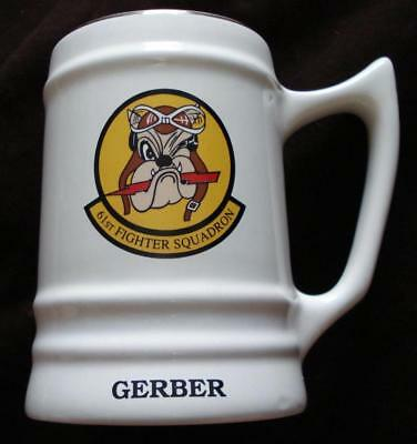 61St Fighter Squadron Usaf Beer Stein Mug Ceramic F16 Top Dogs Bulldog Mint Cond