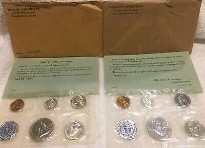 2-1960 U.S. Proof Sets (large+small dates)   CELLO SEALED original env. w/papers