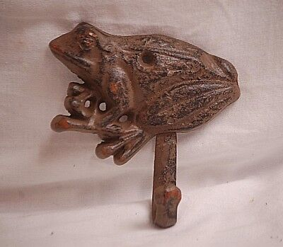 Cast Iron FROG Amphibian Towel Hanger Coat Hat Hook Key Rack Garden Metal Hook