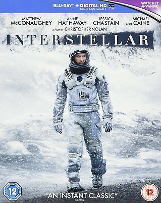 Interstellar Blu Ray 2 Disc Matthew Mcconaughey + Uv Code Region Free New