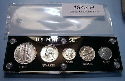 1943 Mint U.s. War-Time Silver Coin Set Lustrous Brilliant Uncirculated Nice!