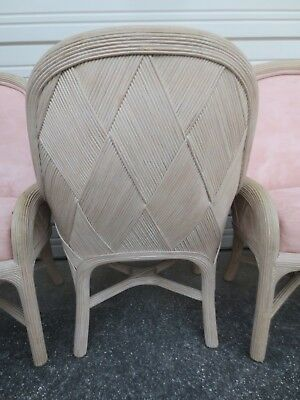 4 Pencil Bamboo dining Arm Chairs Wooven Rattan Chippendale Palm Beach Cottage