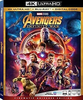 Avengers Infinity War 4K Ultra HD + Blu Ray + Digital Code, NEW With Slipcover