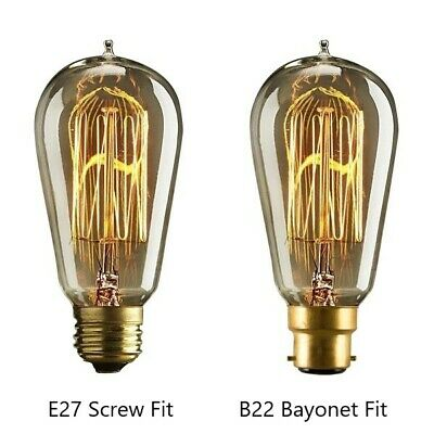 ST64 Industrial Vintage Retro Edison Filament Light Bulbs Lamp. 40W E27 & B22