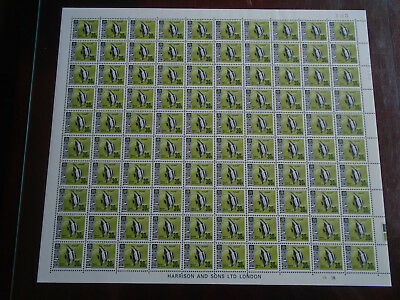 TANZANIA 1967-73 FISH DEFINITIVES COMPLETE SHEET of 100 MNH GLAZED PAPER Variety