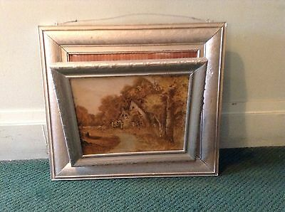 Vintage Antique Picture Frame Wall Mount Magazine Rack Shabby Chic Silver Wood
