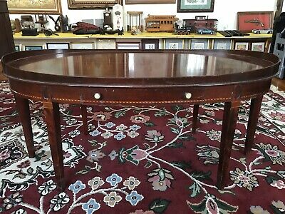 Beautiful Antique Mersman Solid Mahogany Inlaid Oval Coffee