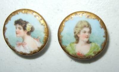 "(2) Antique 1"" Hand Painted Victorian Women Sewing Buttons Lapel Buttons"