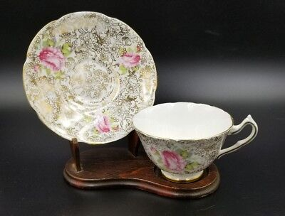 Vintage Bone China Tea Cup & Saucer By Collingwoods England Gold Chintz