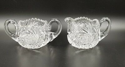 Vtg  Brilliant Cut (Abp) Glass Pinwheel Sugar Bowl And Creamer Set