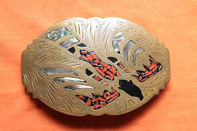 Vintage Johnson Held Coral Abalone Inlay Hand Made Bird Western Belt Buckle