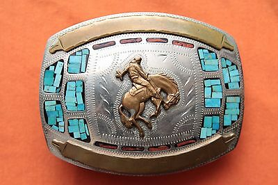 Vtg Johnson Held Cowboy Turquoise Coral Inlay Saddle Bronc Western Belt Buckle