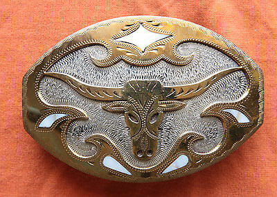 Vtg Johnson Held Longhorn Steer Abalone Inlay Hand Made Western Belt Buckle