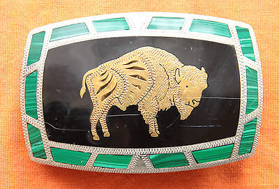 Vtg Johnson Held Buffalo Malachite Brass Inlay Hand Crafted Western Belt Buckle