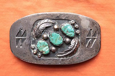 Vintage Sterling Silver Turquoise Hand Made Native American Western Belt Buckle
