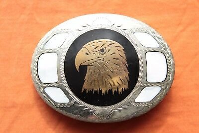 Vintage Johnson Held Mother of Pearl Inlay Eagle Head Hand Crafted Belt Buckle