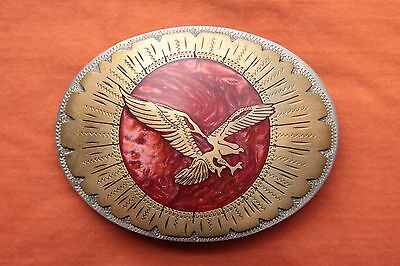 Vintage Johnson Held Hand Made Flying Eagle Inlay Western Belt Buckle