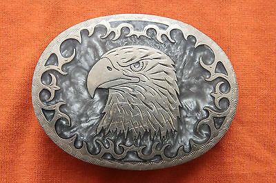 Vtg Johnson Held Eagle Mother of Pearl Inlay Hand Crafted Western Belt Buckle