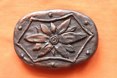 Beautiful Vintage Unique Pewter Artist Hand Made Flower Design Belt Buckle