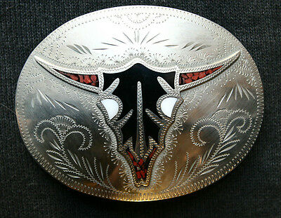 Vtg Johnson Held Bull Skull  Inlay Hand Crafted Western Belt Buckle