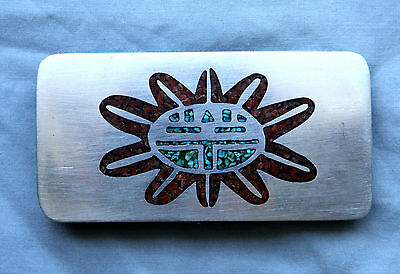 Vtg Sterling Silver Handmade Turquoise Coral Sun Face Inlay Western Belt Buckle
