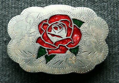 Vintage Small Johnson & Held Rose  Inlay 100% Hand Crafted Western Belt Buckle