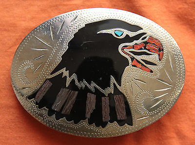 Vtg Johnson Held Eagle Head Turquoise Coral Inlay Handmade Western Belt Buckle