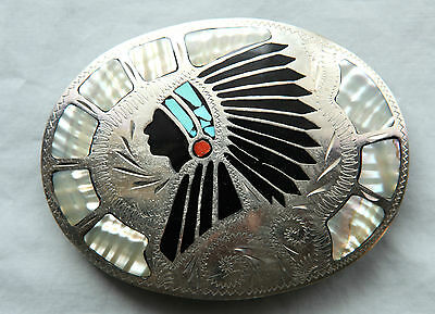 Vtg Johnson Held Indian Chief Turquoise Inlay Handmade Western Belt Buckle
