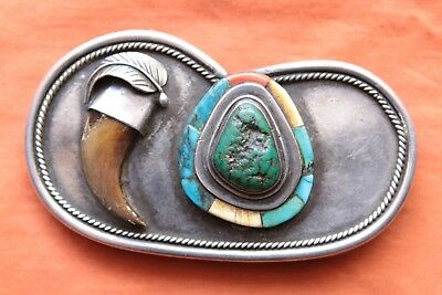 Vintage Sterling Silver Turquoise Coral Claw Hand Made Western Belt Buckle