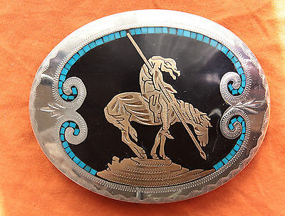Vtg Johnson Held Turquoise Inlay Indian Horse Rodeo Handmade Western Belt Buckle