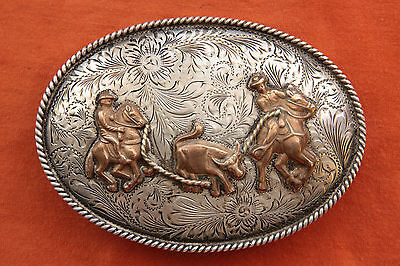 Vtg Hand Made Cowboy Horse Rodeo Team Calf Roping Western Belt Buckle Mexico