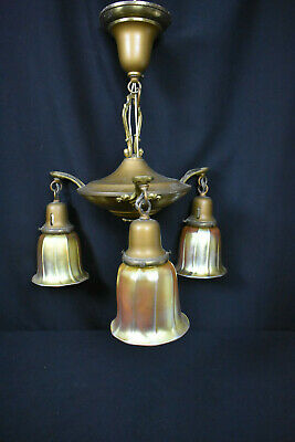 Vintage Deco Hanging Light Fixture with Iridescent Shades