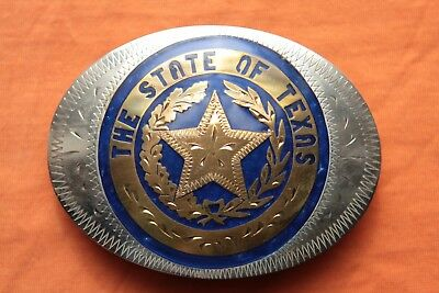 Vtg Johnson Held The State Of TEXAS Hand Made Western Belt Buckle