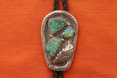 Vintage Hand Made Turquoise Sterling Silver  Bolo Tie
