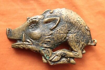 Vintage Hand Made Solid Brass Cast Hog Bikers Belt Buckle