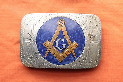 Vintage Johnson Held Hand Made Masonic Letter G Inlay Western Belt Buckle