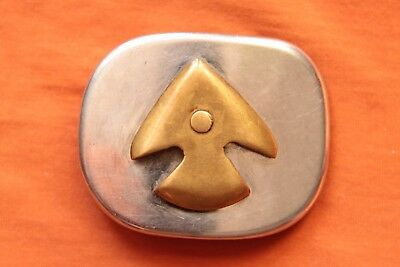 Vintage Stainless Steel Brass Hand Made Arrowhead Western Belt Buckle