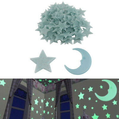100 Glow And 1Moon In The Dark Star Plastic Stickers Kids Ceiling Wall Bedroom