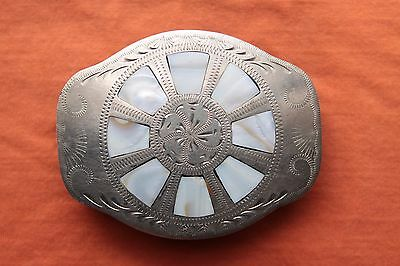 Vintage Johnson Held Hand Made Mother of Pearl Inlay Western Belt Buckle
