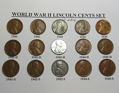 1941 42 43 44 45 Pds Lincoln Wheat Cent Set 15 Cent Lot World War 2 Lot 686