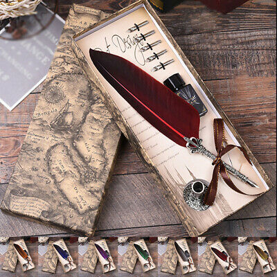 with Gift Box Quill Dip Pen Vintage Feather Pen + Ink  & 5 Nibs Hot Sale