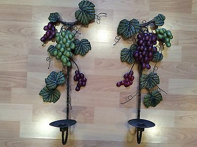 2 VTG Italian Style Tole Wall Sconces Candle Holders Grapes Leaves Shabby Chic