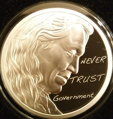 2018 1oz Silver Shield Chief Regret Proof Round Never Trust Government Low Mint!