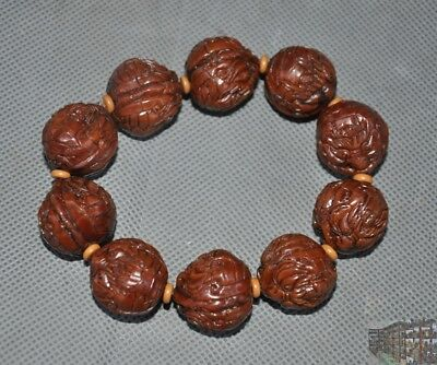 A  Wen play antique Walnut nuclear carved Dragon turtle head Bracelet hand chain