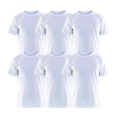 f2e39ef86396b 6 Pack - Men s T-shirt Solid Basic White Comfortable 100% Cotton Crew Neck